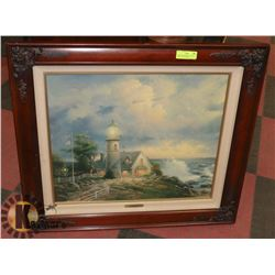 "THOMAS KINKADE ON CANVAS ""A LIGHT IN THE STORM"""