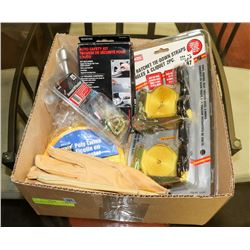 BOX OF ASSORTED INCL GLOVES, RATCHET STRAPS,