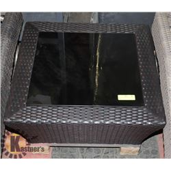 11) RATTAN STYLE GLASS TOP END TABLE