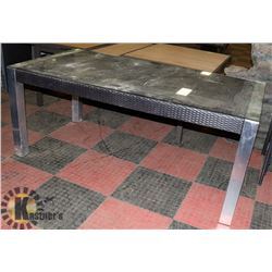 5) RATTAN STYLE GLASS TOP PATIO TABLE.