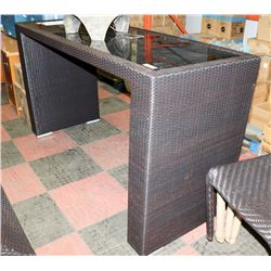 23) RATTAN STYLE GLASS TOP BAR TABLE.