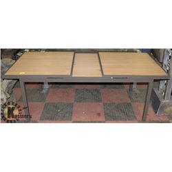 21) RATTAN STYLE WOOD & METAL PATIO TABLE.