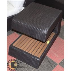 26) RATTAN STYLE WOOD SIDE TABLE.