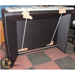 12) RATTAN STYLE GLASS TOP & WOOD BAR.