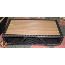 20) RATTAN STYLE WOOD TOP COFFEE TABLE.