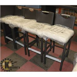 17) RATTAN STYLE SET OF 4 BAR STOOLS.