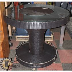 19) RATTAN STYLE ICE BUCKET BAR TABLE.