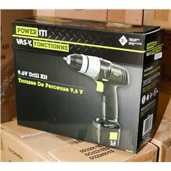CASE OF 2 NEW POWER IT 9.6 VOLT CORDLESS DRILLS