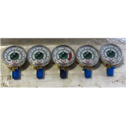 LOT OF FOUR 200 PSI & ONE 4000 PSI PRESSURE GAUGES