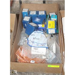 BOX OF ASSORTED HARDWARE AND GREASE FITTINGS , ETC