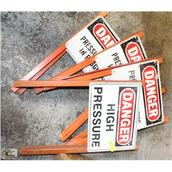 LOT OF 5 ASSORTED DANGER SIGNS
