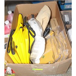 BOX OF ASST PROTECTIVE SAFETY APRONS, CANVAS BAGS