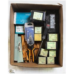 BOX OF HITCH PIN CLIPS, SPRING PINS AND MORE