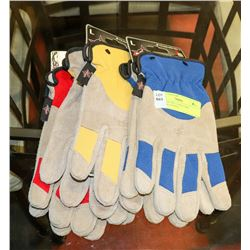 3 PAIRS OF SIZE LARGE PBR RANCHER GLOVES.