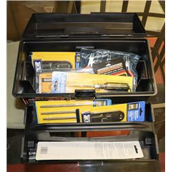 BLACK TOOLBOX WITH CONTENTS.