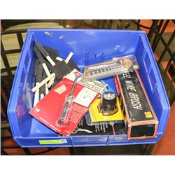 FLAT OF ASSORTED INCL WIRE BRUSH, HEAD LAMP, PICK