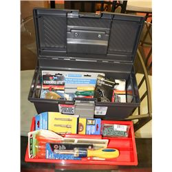 GREY TOOL BOX WITH CONTENTS.