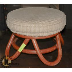 FABRIC PADDED WOOD BASED FOOT STOOL.