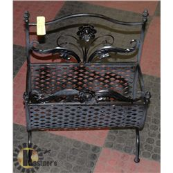 "BLACK WROUGHT IRON LOG/MAGAZINE HOLDER - 20""H"