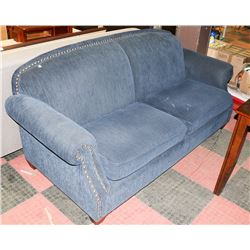 "BLUE CORDUROY NAILHEAD 84"" SOFA"
