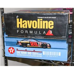 BOX OF HAVOLINE FORMULA 3 SAW 10W-30 MOTOR OIL.