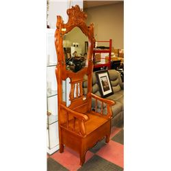 MAHOGANY HALL COAT TREE WITH STORAGE BENCH.