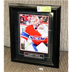 CAREY PRICE FRAMED HOCKEY PICTURE