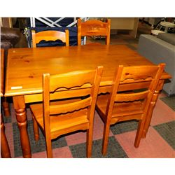 PINE TABLE WITH 4 CHAIRS - ONE IS MISMATCHED,