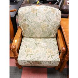 PINE UPHOLSTERED ARMCHAIR. FURNITURE