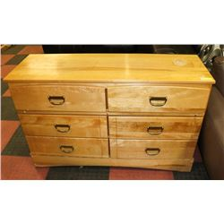 "MAPLE 6 DRAWER DRESSER, 49""X16""X31""."