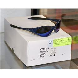 BOX OF DARK BLUE OAKLEY STYLE SUNGLASSES