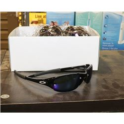 BOX OF BLACK AND BLUE OAKLEY STYLE SUNGLASSES