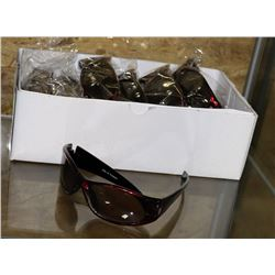 BOX OF RED DESIGNER SUNGLASSES