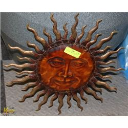 "19"" SUN FACE METAL WALL ART."