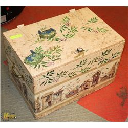 HAND PAINTED WOODEN TOY BOX.