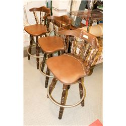 LOT OF 3 WOOD BAR STOOLS AS IS