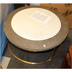 "ROUND METAL TRIM COFFEE TABLE, 35"" X 17"""