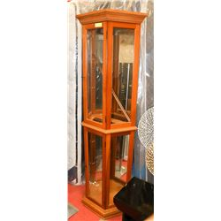 WOOD AND GLASS CURIO CABINET - AS IS
