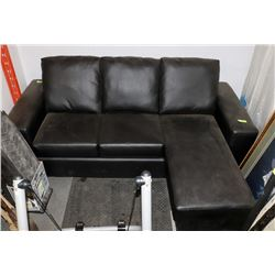 NEW BLACK LEATHERETTE MINI REVERSIBLE SECTIONAL