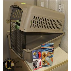 LARGE PET CARRIER WITH LEASH GLOW COLLAR AND