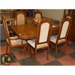 "WOOD TABLE (67""X41.5""X30.5"") W/ 6 CHAIRS & TWO"