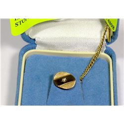 ESTATE 10K GOLD TIE TACK WITH STONE ACCENT