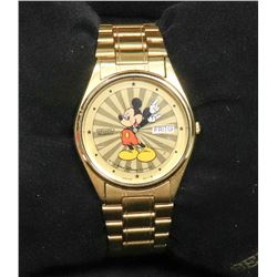 SEIKO MENS MICKEY MOUSE WATCH GOLD TONE
