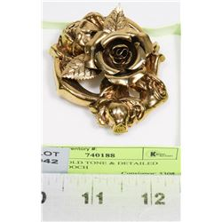 LARGE GOLD TONE & DETAILED ROSE BROOCH