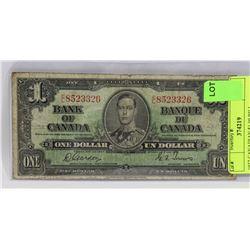 1937 CANADIAN $1.00 BILL.