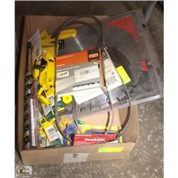 BOX OF ASSORTED STANLEY UTILITY KNIVES, BANDSAW