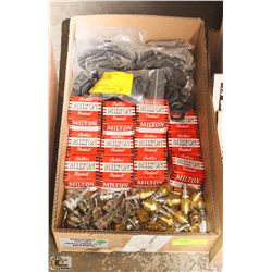 BOX OF ASSORTED HOSE FITTINGS , AIR FITTINGS