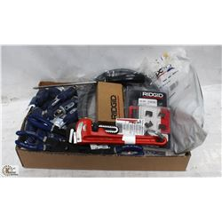 BOX OF SCREWDRIVERS, PIPE WRENCH, O-RING PLIERS