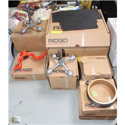 9 BOXES OF ASSORTED RIDGID ACCESSORIES