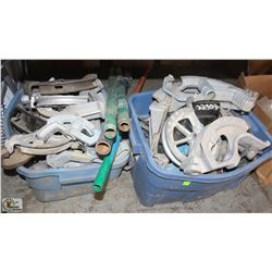 2 BINS OF ASSORTED PIPE BENDER PARTS SOLD WITH